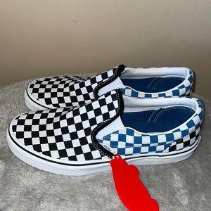 Van blue black check slip on sneakers new
